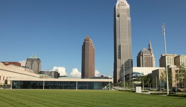 The lobby of the new Cleveland Convention Center rises 27 feet from Lakeside Avenue, bisecting the once nearly unified downtown Mall. It's a loss, but there's also a gain; views from atop the roof are terrific.
