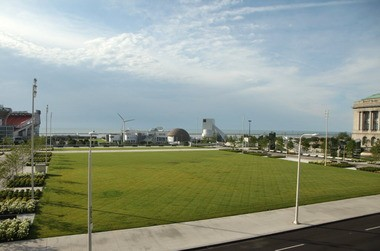 Views of the Rock and Roll Hall of Fame, such as this perspective from atop the elevated lobby roof of the new Cleveland Convention Center, need to be protected from encroachment by other structures.