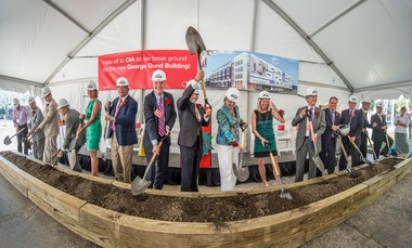 Shovelers at the Cleveland Institute of Art groundbreaking, from left to right: John Schulze, CIA board member and project committee chair; board Chairman Michael Schwartz; David T. Abbott, executive director of the George Gund Foundation; Geoffrey Gund; Ellen Stirn Mavec, president of The Kelvin and Eleanor Smith Foundation; CIA board member John E. Katzenmeyer; Chris Ronayne, president of University Circle Inc.; Grafton J. Nunes, art institute president and CEO; Ruth Eppig, art institute board member; Jennifer Frutchy, philanthropic advisor to Peter B. Lewis; art institute board member Toby Devan Lewis; R. Michael Cole, senior vice president for institutional advancement; attorney Chad Arfons; art institute board member Creighton Murch; architect Anton Germishuizen of Stantec; and Bob Strickland, president of Project and Construction Services Inc.
