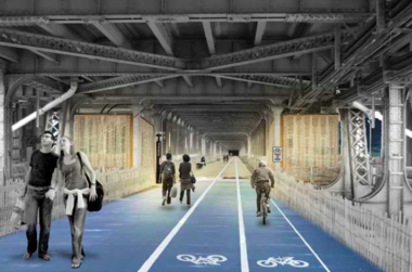 A proposal to install bike lanes on the lower level of the Detroit-Superior Bridge, envisioned here in a digital rendering, could cost from $2 million to $11 million according to a new estimate.