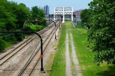 A photo of the proposed Red Line greenway viewed from Lorain Avenue.