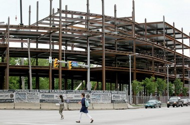 Steel rising for new apartments in University Circle's Uptown development is one example of transit-oriented development in Cleveland.