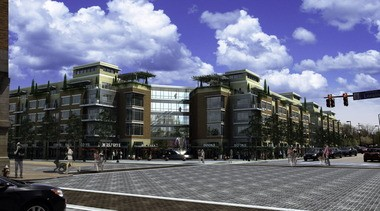 """A rendering by Dimit Architects of Lakewood shows how the southeast corner of the intersection of West 25th Street and Lorain Avenue in Ohio City would look if the Market Plaza shopping center were replaced with apartments and retail shops intended to exemplify a """"transit-oriented development"""" proposed by RTA."""