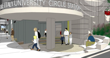 A semi-circular canopy will make the entry of the new RTA Little Italy Red Line Rapid station. Portions of a concrete bunker originally built as a rapid station in this location in the 1930s will be cut away to open the interior to surrounding sidewalks.
