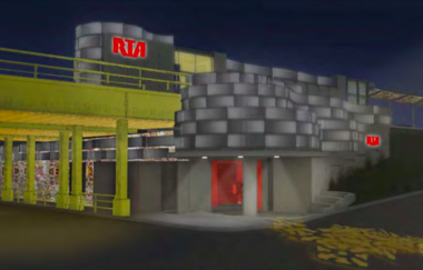 A rendering suggests how the Mayfield RTA Red Line Rapid station would look at night.