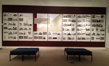 A large map and graphic display in the Charles Schweinfurth exhibition at ARTneo locates the architect's buildings - built, unbuilt and demolished - in Cleveland.