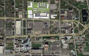 A slide from a Westlake Reed Leskosky presentation shows the general location of the Upper Chester development in relation to the Cleveland Clinic campus.
