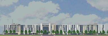 An elevation drawing shows the proposed $42 million first phase building of the Upper Chester development, which accounts for the western two thirds of the structure. The drawing above shows the first phase, plus a future phase, on the right side of the image.