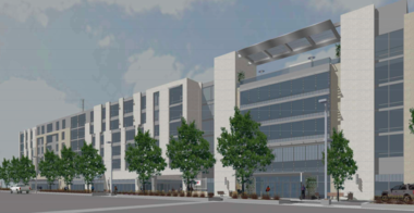 The proposed Upper Chester apartment and retail building viewed from the southeast looking northwest.
