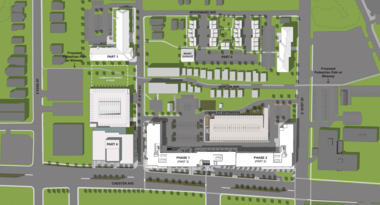 The building labeled Phase 1 part 3 in the plan above is the first $42 million apartment and retail building that will kick off the Upper Chester development.