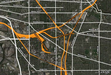 A map shows how the area to be traversed by Opportunity Corridor - known as the Forgotten Triangle - is difficult to navigate through today because it is carved by by railroads and valleys.