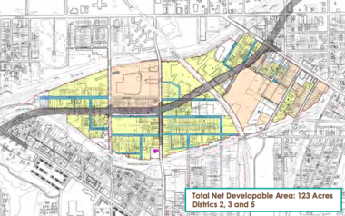 A recent study by City Architecture for the Greater Cleveland Partnership shows how large parcels for development could be assembled around the proposed Opportunity Corridor. Streets marked blue in this proposal would be removed.