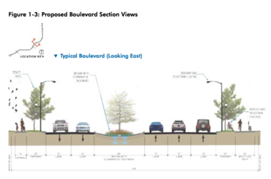 A typical roadway section from the Draft Environmental Impact Statement for Opportunity Corridor shows a 10-foot multi-purpose trail on the right, in addition to a sidewalk on the left, plus five travel lanes and a green median.