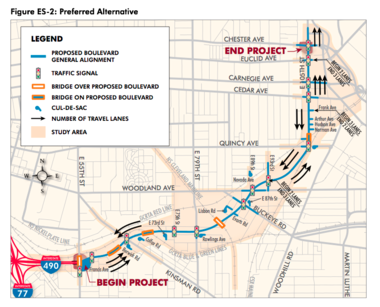 An ODOT diagram in the Opportunity Corridor Draft Environmental Impact Study shows how the 35 mph boulevard would cross 13 intersections connecting the right-of-way to neighborhoods.