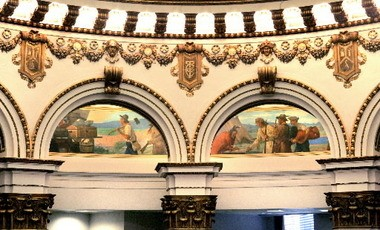 Francis Millet went down with the Titanic, but his colorful murals live on in the Ameritrust banking Rotunda.