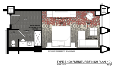 The floor plan for a 400-square-foot guest room in the Metropolitan hotel includes a sculpted glass shower stall and a generous sitting area.