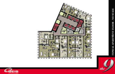 A typical floor plan for an apartment floor in the Ameritrust Tower shows how eight luxury units, starting at $1,600 a month for 850 square feet, would be laid out.