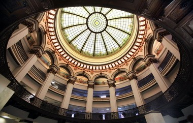 The stained glass dome of the Ameritrust Rotunda is widely attributed to Louis Comfort Tiffany, but architects who have examined the building's documentation say there's no record of the connection to Tiffany.