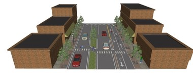 A variant on the Lorain Avenue proposal to subtract travel lanes for cars and add a cycle track for bicyclists.