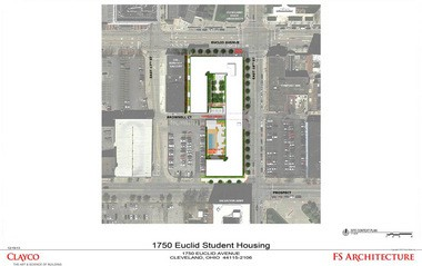 The site plan of the proposed 1750 Euclid building.