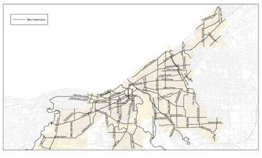 A version of the Cleveland bike plan with street names listed.