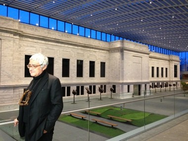 Rafael Vinoly in the space he designed: the Cleveland Museum of Art's new atrium.