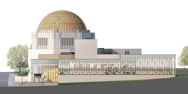 The north elevation of the proposed addition at the Temple-Tifereth Israel complex at East 105th Street in Cleveland.