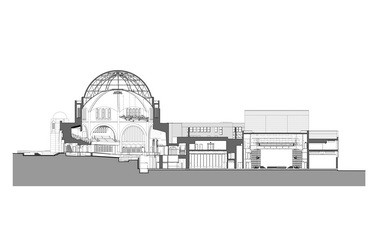 A north-south cross section of the expanded Temple-Tifereth Israel / performing arts complex proposed by CWRU.