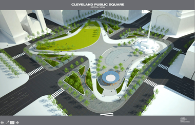 A schematic aerial perspective of the James Corner concept for Public Square shows the butterfly shape of paving and gardens that would be draped over the heart of the 10-acre space to provide a sense of unity it now lacks.