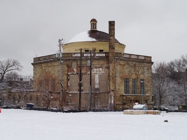 Horizontal snow covered the west half of the dome of Fifth Christ, Scientist, after a storm during the winter of 2012-2013.