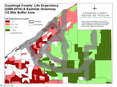 The Cuyahoga County Board of Health's map showing life expectancy rates across the county overlaid with current and future trails corridors proposed to become part of the East Side Greenway system.