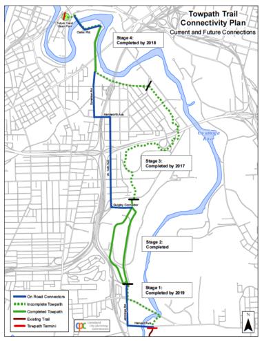 A map details the stages of the Towpath Trail project in Cleveland, along with scheduled years of completion, plus a temporary bike route that will be ready with signs on city streets July 7.