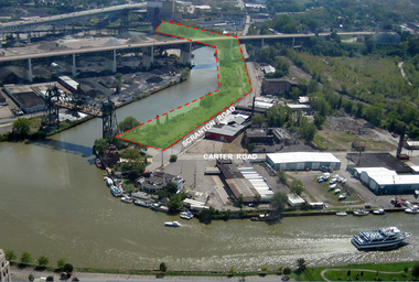 A slide from a presentation about the Scranton/Flats trail shows the area of Cuyahoga riverbank improved by the $9.1 million project.