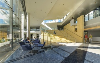 The bright, airy, light-filled interior of the new Tinkham Veale University Center at Case Western Reserve University.