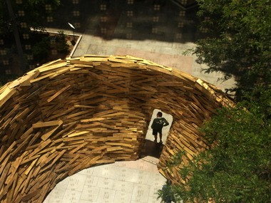 """The 2013 """"Reading Nest,"""" a temporary installation in the Eastman Reading Garden of the Cleveland Public Library, was designed by Mark Reigelman, a recent graduate of the Cleveland Institute of Art."""