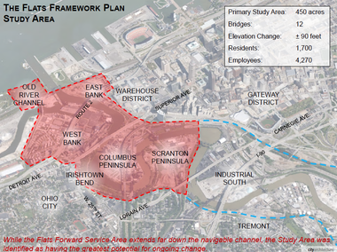 A page from the new Flats Framework Plan identifies the 450 acres studied in the document.