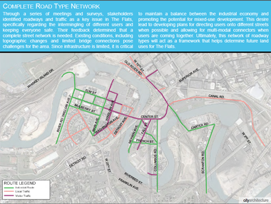 A page from the new Framework Plan for the Flats describes a proposed classification system for streets in the district to clarify which routes are best for industry, residents and visitors.