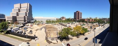 A panorama shows the construction site for the new Cleveland Clinic Cancer Institute in the foreground, flanked to the left (west) by the Crile Building, and to the north (middle distance) by the Cole Eye Institute.