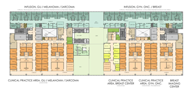 A typical floor plan shows how the Cleveland Clinic's new Cancer Institute will have exam rooms on north-south corridors that extend from a fully daylighted corridor on the building's south side to infusion rooms on the north side, which will overlook a large, landscaped greensward outside.