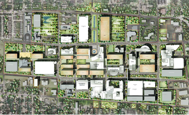 "The Cleveland Clinic's 2012 master plan shows how its 166-acre main campus in Cleveland could add 13 new buildings around an east-west ""green spine."""