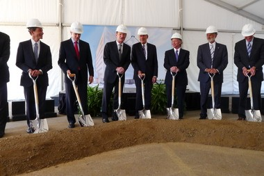 """Dignitaries at Monday's Cleveland Clinic groundbreaking, left to right: Stewart Kohl, co-chair of the Clinic's capital campaign; U.S. Sen. Rob Portman; William Peacock, chief of Clinic Operations, Dr. Delos """"Toby"""" Cosgrove, CEO of the Clinic; Dr. Brian Bolwell, chairman of the Taussig Cancer Institute; Cleveland Mayor Frank Jackson; and Larry Pollock, chair of the Clinic's capital campaign."""