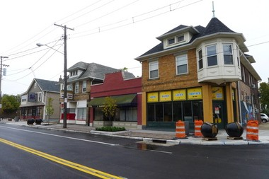 Businesses along Waterloo Road in the Waterloo Arts District have a fresh new foreground - a completed, $5.5 million streetscape that is the impetus of a neighborhood celebration on Friday.