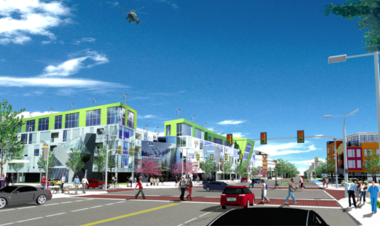 A rendering created by City Architecture for the Fairfax Renaissance Development Corp. depicts a vision for redevelopment of the northernmost portion of Opportunity Corridor along East 105th Street at the southern edge of University Circle. Cleveland needs new zoning and design guidelines to help make visions like this possible in other locations along the three-mile corridor.