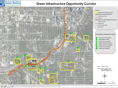 A map prepared by the Northeast Ohio Regional Sewer District shows locations of green infrastructure projects in the Opportunity Corridor area, aimed at capturing stormwater runoff and preventing combined sewer overflows.