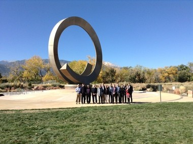 """Kathy Barrie snapped this photo Tuesday as the design team for the U.S. Olympic Museum visited the construction site, which will face the fountain sculpture """"Continuum,"""" by artist Bill Burgess and architect David Barber in America the Beautiful Park in Colorado Springs."""
