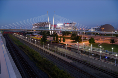 A rendering depicts the cable-stayed design option for the 900-foot-long pedestrian bridge on Cleveland's lakefront devised by Boston architect Miguel Rosales and Parsons Brinckerhoff.