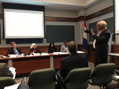 Robert Stark speaking at the Cleveland City Planning Commission meeting Friday.
