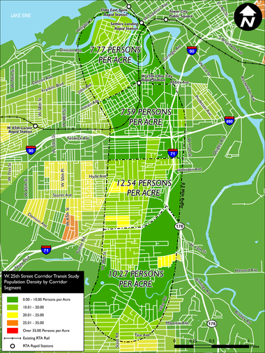 A map displays population density along the West 25th Street corridor in Cleveland.