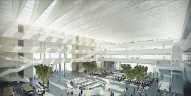 A rendering shows the interior atrium of the planned Health Education Campus designed by Lord Norman Foster for Case Western Reserve University and the Cleveland Clinic.