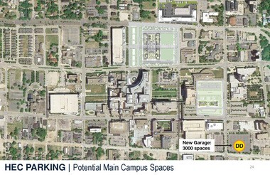 A site plan indicates location of a new Cleveland Clinic garage on East 105th Street, at lower right in image, and its relation to the new Health Education Campus planned for East 93rd Street.